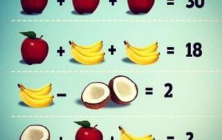 Mozgalice - izračunaj koliko iznose kokos, jabuka i banana!